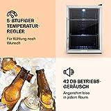 Klarstein Beersafe XL - Minibar, Mini-Kühlschrank, Getränkekühlschrank, 60 Liter, leise, 42 dB, Edelstahl, Glastür, 2 Einschübe, 5-stufiger Temperaturregler, schwarz-silber - 8