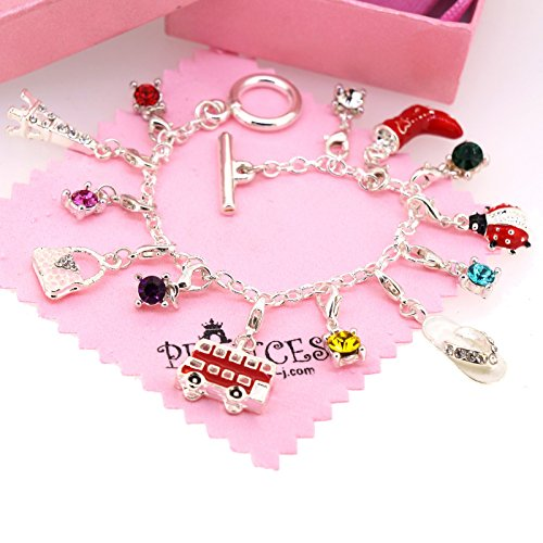 Silver Plated Link Chain Bracelet with 13 Removable Charms for Kids Teen Girls Women