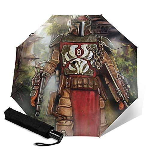 Star Mandalorian Wars Paraguas automático de tres plegables, ligero y portátil, tanto para fines soleados como lluviosos, sombreado al sol y a prueba de rayos UV
