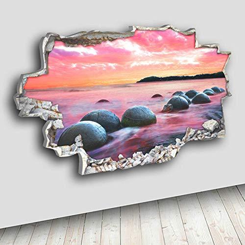 3D Wall Sticker Sunset Rock Pebbles Beach Canvas 3D Hole Hole Vinyl Room Fashion Cool Mural Art