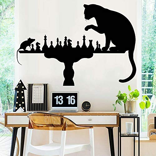 jtxqe Wall Art Stickers Quotes Bedroom Funny Chess Cat Mouse 3D Wall Sticker For Baby Kids Rooms Boys Bedroom Decor Art Decals 82x57cm