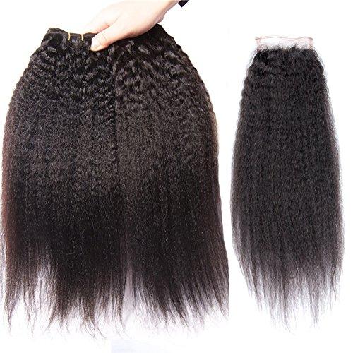 YanT HAIR Lot de 3 extensions de cheveux brésiliens vierges de qualité 8A 50,8 cm avec 1 pièce de 50,8 cm avec fermeture en dentelle 10,2 x 10,2 cm Couleur naturelle