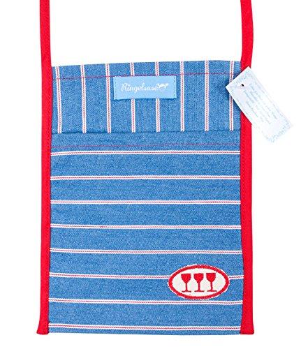 Ringelsuse Aufbewahrung/Umhängebeutel Weinglas/Glashalter/Beutel/Tasche Probierglas 18,5 x 14,5 cm Blau Rot Weiß Bestickt Fairtrade