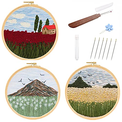 Embroidery Starter Kits for Adults Beginners with Stamped Pattern, Cross Stitch...