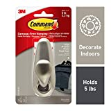Command Metal Hook, Decorate Damage-Free, Indoor Use (FC13-BN-ES), Brushed Nickel