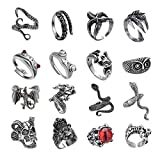 yfstyle Vintage Punk Open Rings Set Adjustable Retro Snake Dragon Claw Octopus Skull Owl Cat Frog Ring Set Cool Gothic Jewelry for Women Men Teen Girls Pack of 16 Pcs-A
