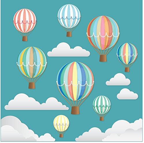Stickers4 Wunderschöne dekorative Retro-Heißluftballons mit Wolken – Doppelseitig Bedruckte Fensteraufkleber mit statischer Haftung - Kinderzimmer - Kinderbettzimmer - Kinderschlafzimmer