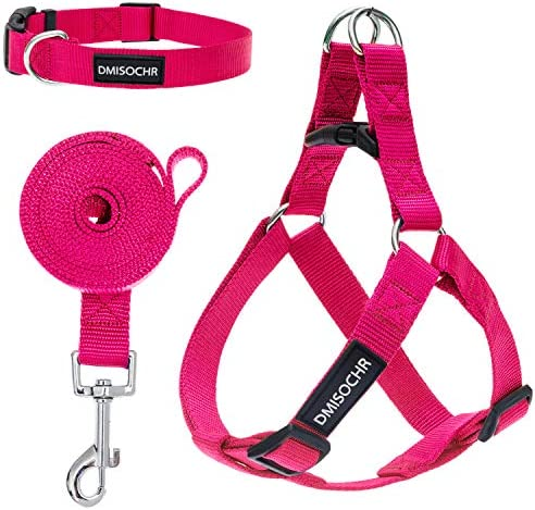 DMISOCHR Dog Harness and Leash Set with Collar Rose Red Step in Adjustable No Pull Safe Doggy product image