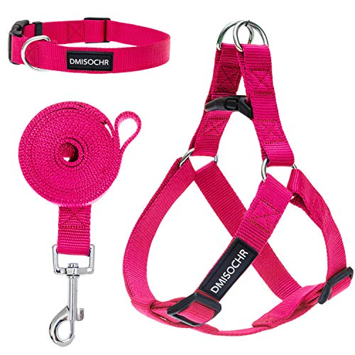 DMISOCHR Dog Harness and Leash Set with Collar - Rose Red Step-in Adjustable No Pull Safe Doggy Harness - Soft Nylon H-Shape Full Body Harness - Easy Walking Control for Small, Medium, Large Dogs
