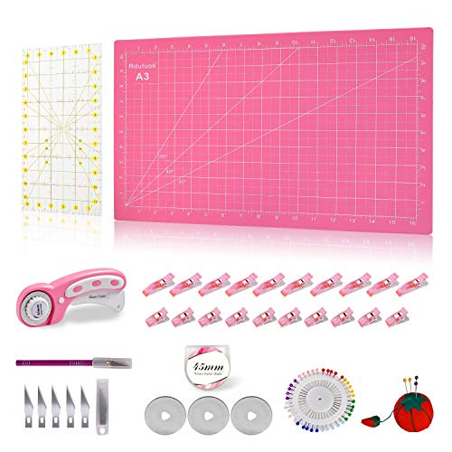 Rdutuok 45mm Rotary Cutter Set Quilting Kit, 3 Replacement Blades, A3 Cutting Mat(Cutting mat in inch), Acrylic Ruler,Sewing Pins,Cushion,Craft Knife Set and Clips - Ideal for Sewing,Crafting