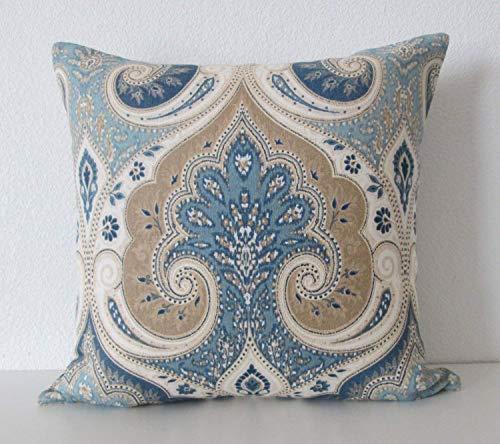 Pillow Covers,Throw Pillowcase Ethan Allen Anjali Blue Latika Delta 18x18 Throw Pillow Cover Cushion Cover Throw Pillow Case for Bedroom