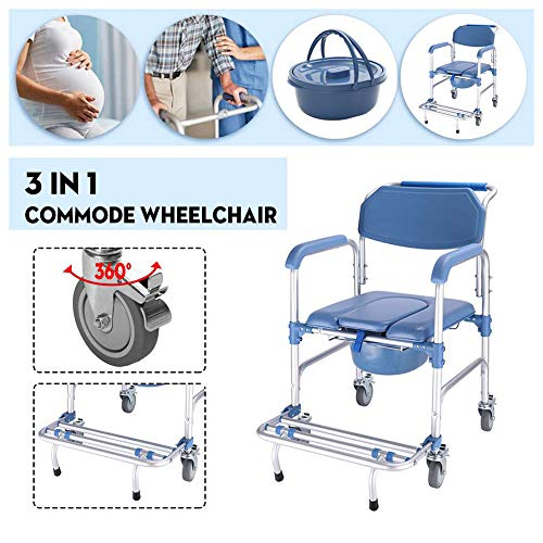 3 in 1 Bedside Commode Wheelchair Move Toilet Shower Seat Bathroom Wheel Chair, Waterproof Rustproof, Load 150 kg/330 lbs