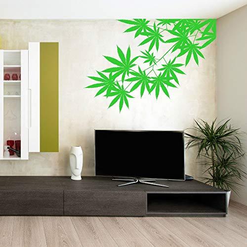 Geiqianjiumai Green Tree Weed Leaf Design Vinyl Muursticker Artiest Thuis Links en Rechts Gezicht Selectie Behang