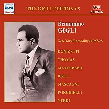 Gigli, Beniamino: Gigli Edition, Vol.  5: New York Recordings (1927-1928)