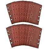 SOMXK Schmirgelpapier Klett 1/3 Blatt Schleifschleifer Schleifpapier Pads 20er Pack Mixed Grit 40 120, Rot
