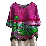 Chemisier pour Aux Femmes Décontractée Coton et Lin Chemises Multicolore O-Cou 3/4 Manche Courte Chemisier Hauts en Vrac Top Blouse