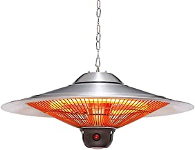 VIY Calefactor de Techo, Calefacción Infrarrojos para Exterior, Acero Inoxidable, Tubo Calefactor de Carbono, Iluminación LED, Mando a Distancia, Niveles de calefacción (1000/1500 / 2500W)