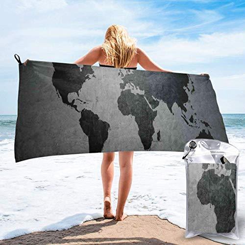 LLOOP Schwarze Weltkarte auf Beton, Wandbild, Urban-Struktur, grobe Optik, Bad, Schwimmbad, Yoga, Pilates, Picknick, Decke, Strandtücher, 69,8 x 139,7 cm