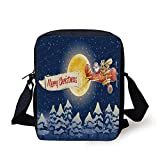 Christmas,Santa Claus Airline Theme Vintage Plane Full Moon Snow Covered Trees,Dark Blue Marigold Red Print Kids Crossbody Messenger Bag Purse