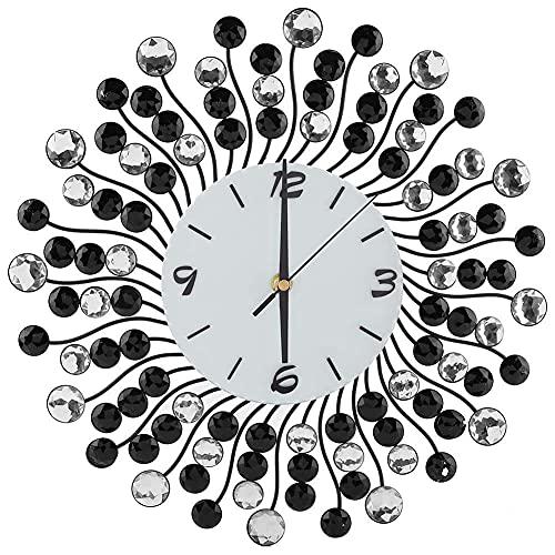 MingXinJia Relojes de Cabecera para el Hogar Reloj de Pared de Metal, Cristal Reloj Moderno de 36 cm Decoración de Pared Hecha de Metal Y Vidrio