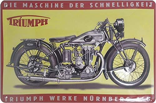 Cartel publicitario retro de Triumph con diseño de moto de