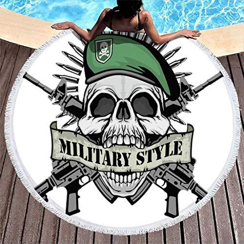 VEED Clubdeer Guns Skull Toalla de Playa Estilo Militar con borlas Círculo Meditación Esterilla de Yoga Super Absorbente de Agua Roundie 59'Blanco Talla única
