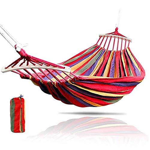 YOBAIH Portátil 250 * 150 cm 2 Personas Lienzo al Aire Libre Camping Hamaca Curva Madera Palo Estable jardín Swing Silla Colgando Hamacas Colgantes (Color : Red)