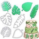 Juego de 4 moldes para repostería, diseño de hojas tropicales, para decoración de pasteles, 4 piezas de plástico para fondant glaseado