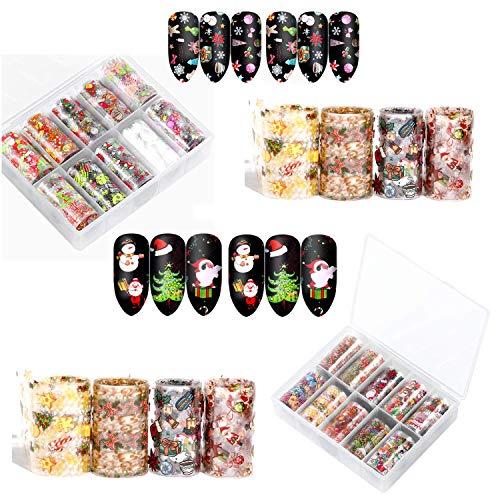 KRUCE 20 Rollos Patrones de Navidad Pegatinas de Transferencia de láminas de uñas, Calcomanías para uñas, Decoración de Bricolaje para Mujeres y niños Uñas Uñas de los pies Diseños de Belleza DIY