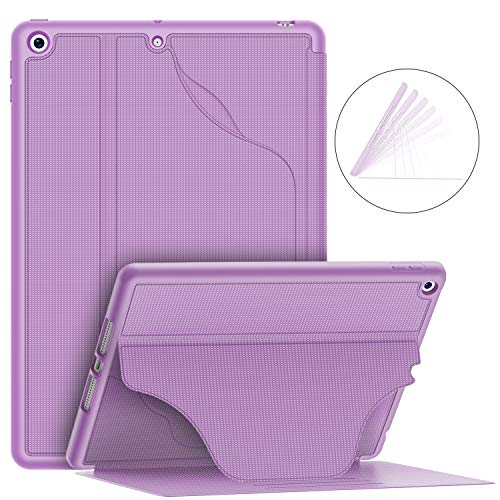 """Soke Luxury Series Case for iPad 7th Generation 10.2"""" 2019- [Built-in Pencil Holder + 6 Magnetic Stand Angles + 360 Full Protection + Premium PU Leather] - Sleep/Wake Cover for iPad 10.2, Violet"""
