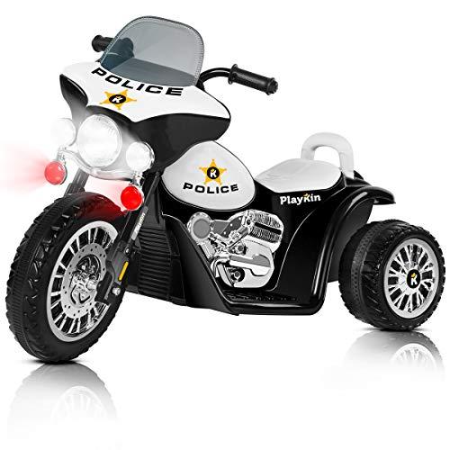 Playkin POLICE NEGRA - Moto electrica niños policia bateria 6V recargable triciclo infantil +2 años juguetes infantiles correpasillos infantil coches de bateria
