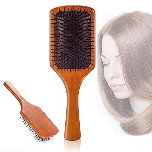 Hair Brush Bamboo Paddle Hair Brush Comb for Straight, Curly, Wavy, Long, Short Hair Women and...