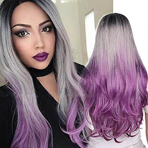 HAIRCARE Femmes Long Curly Wig Gradient Gray Black Roots,Mixed Colors Wavy Synthetic Wig Heat Resistant Full Wig for Costume Party Masquerade Cosplay(Gris)