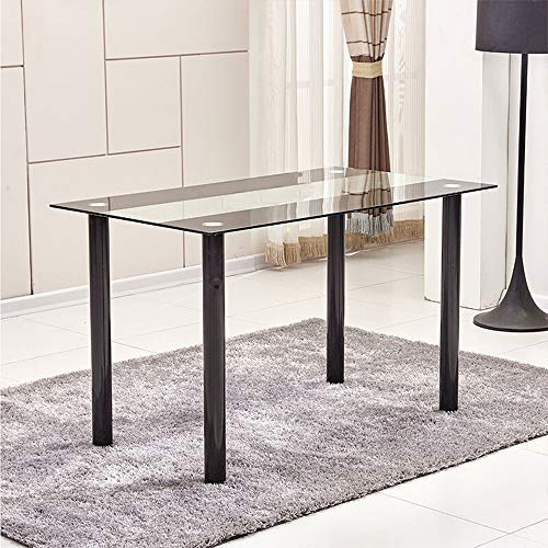 nozama Glass Rectangular Dining Table for 4 Modern Kitchen Dinner Table Kitchen Dining Desk Table with Black Chrome Legs and Glass Table Top