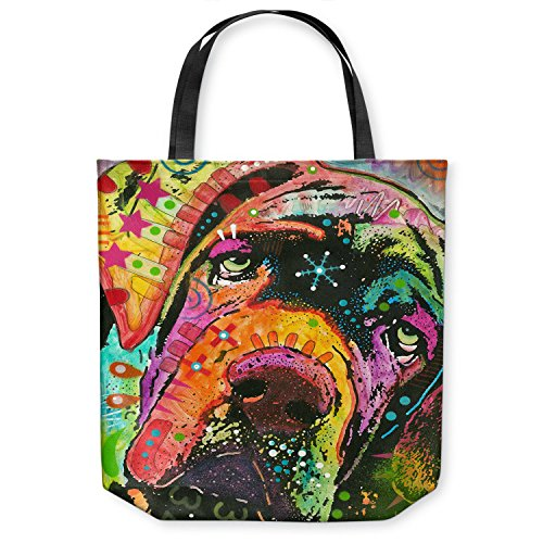 DiaNoche Designs Tote Shoulder Bags by Dean Russo - Ol Droopy Face Mastiff Dog