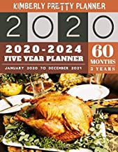 5 Year Planner 2020-2024: 60 Months Calendar Large size 8.5 x 11 2020-2024 planner, organizer and internet logbook   happy thanksgiving decorations design (5 year monthly planner 2020-2024)