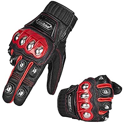 Auboa Alloy Steel Leather Hard Knuckle Touchscreen Motorcycle Motorbike Powersports Windproof Scooter Snowmobile Skiing Cycling Gloves (L,(Leather) Red)