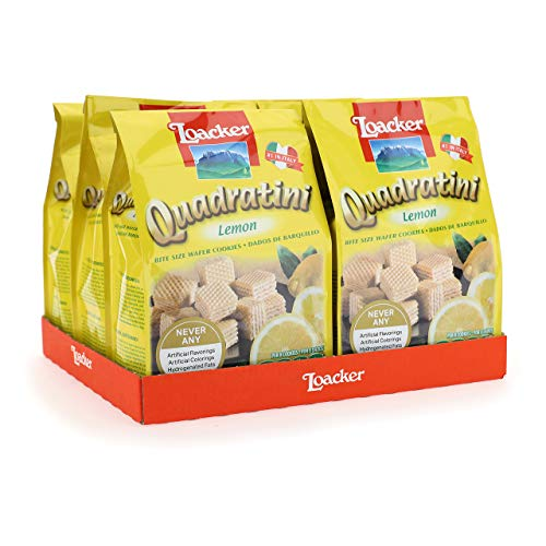Loacker Quadratini Premium Lemon Wafer Cookies, 250g/8.82oz, Pack of 6
