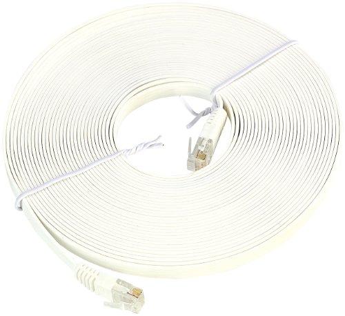 Fibrionic Network Solutions LAN Kabel flach: Netzwerk-Kabel Cat5e flach, weiß, 10m (LAN Kabel Fensterdurchführung)