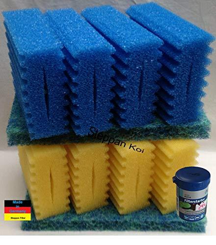 Steppan 8 Stück Filterschwämme 4 Blaue und 4 gelbe -Plus- 2 Stück Biomatten passend für SunSun CBF 350 B + 100 ml Filterstarter. Auch für Osaga, Pondlife, Atlantis und OTF.