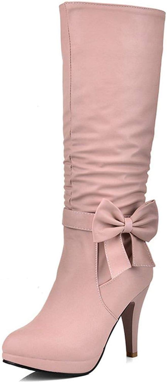 DecoStain Women's Sweet Bowtie Solid Zipper High Heel Boots