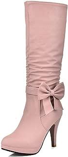 Women's Elegant Sweet Bowtie Zipper Stiletto High Heels Winter Shoes Platform Party Boots