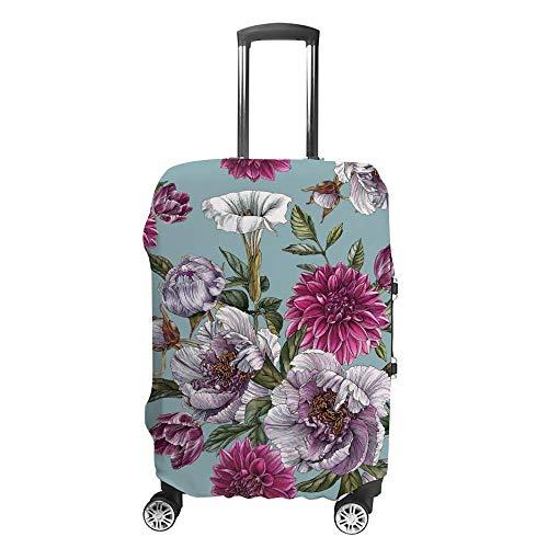 Gepäckabdeckung, verdickt, waschbar, grün-rot, Aquarell-Blume, Polyester, elastisch, faltbar, leicht, Reisekoffer-Schutz