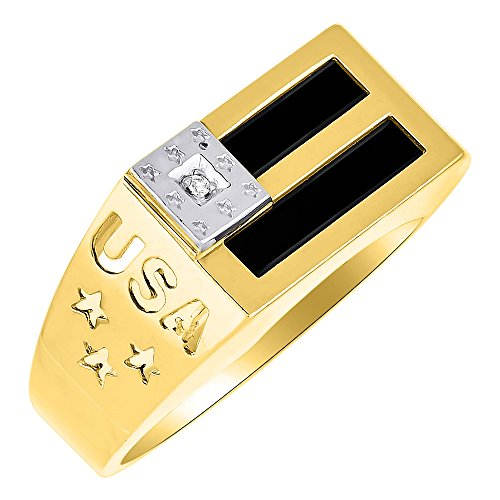 Diamante & nero onice anello in oro bianco o giallo 14K Patriotic usa