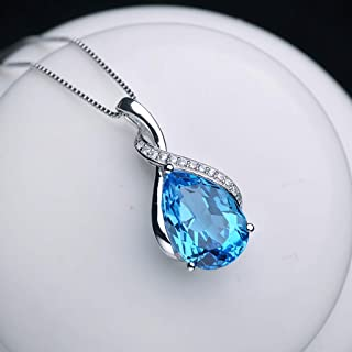 Necklace 925 Silver Topaz Drop Shape Ladies Pendant Necklace Valentine's Gift For Girlfriend Wife Mother Or Friend Women's...