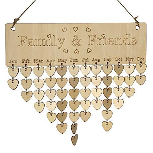 ULTNICE Famille amis anniversaire rappel Calendrier plaque en bois Tableau avec étiquettes pour décoration de la maison