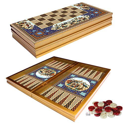 PrimoLiving Deluxe Holz Backgammon Set Esfahan im XXL Format 50x50 cm