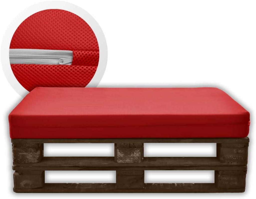 Dimensiones 40x120x12 Espuma HR Alta Densidad Funda Roja de Tejido 3D Hipertranspirable MICAMAMELLAMA Respaldo para Sof/á de Palet Exterior e Interior