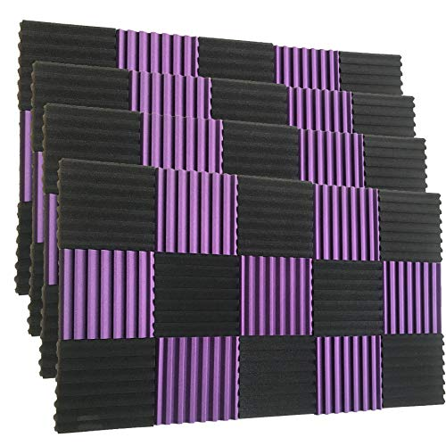 96 Pack Black/purple 12quotX 12quotX1quot Acoustic Panels Studio Soundproofing Foam Wedge Tiles