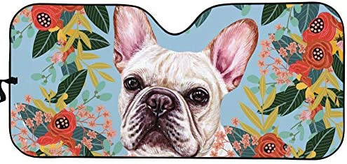 WELLFLYHOM Auto Sunshade Accordian Front Window Funny Joyful French Bulldog Floral Sun Shades product image